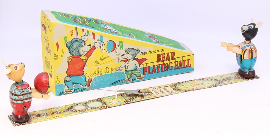 TPS: A boxed, Tokyo Playthings, Mechanical Bears Playing Ball, both bears are in working order,