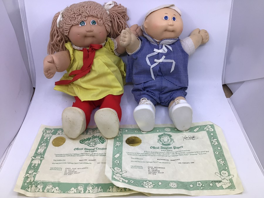 Cabbage Patch Kids: two hard face 1980's dolls with birth certificates, Malina Raquel and