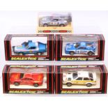 Scalextric: A collection of five boxed Scalextric vehicles to comprise: Audi Quattro, C349;