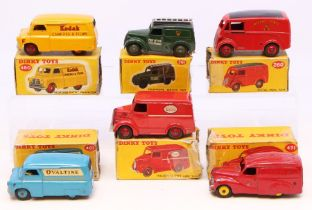 Dinky: A collection of six boxed Dinky Toys to comprise: Austin Van, Nestle's, 471, red body, '