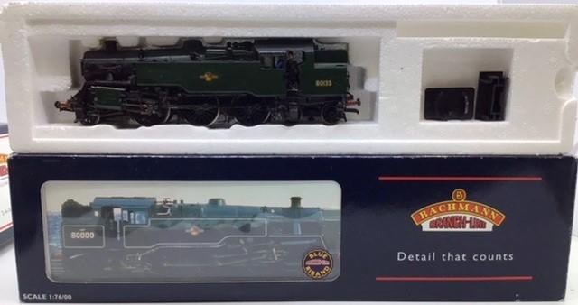Railway: three 00 gauge Bachmann locomotives: 32-353 Standard class 4MT Tank repainted, 31-826 - Image 4 of 5