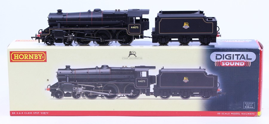 Hornby: A boxed BR 4-6-0 Class 5P5F '44875' locomotive and tender, Digital with Sound (Decoder