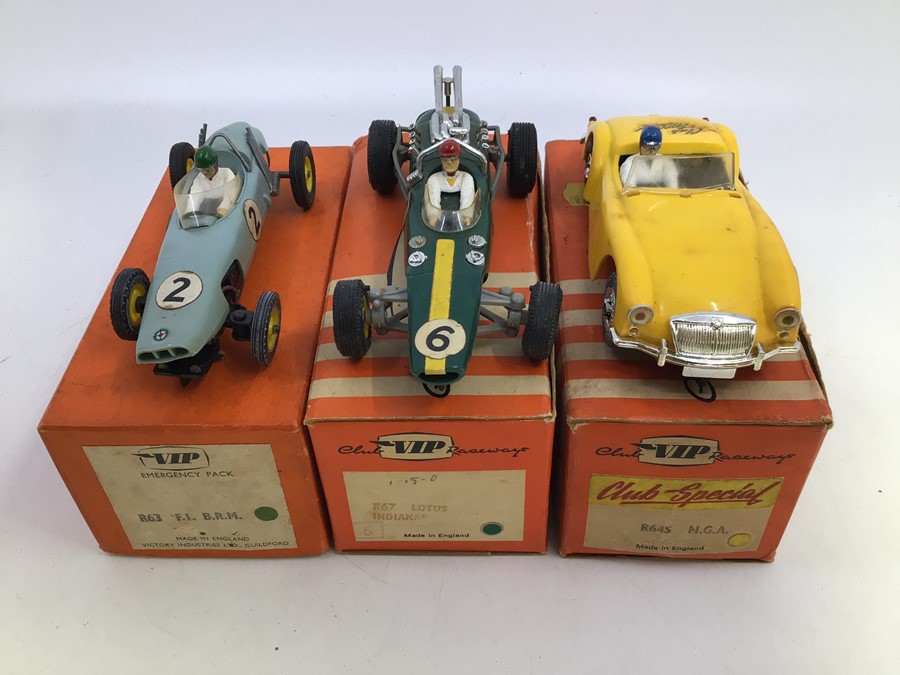 VIP Raceways: A collection of three boxed VIP Raceways vehicles to comprise: Lotus Indianapolis,