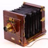 Thornton Pickard: A late 19th century W. Watson & Sons, London half plate camera, with Thornton
