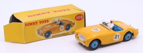 Dinky: A boxed Dinky Toys, Austin-Healey '100' Sports, 109, yellow body with blue interior, #21, one