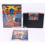 Neo Geo: A cased Neo Geo AES, Sengoku, Game Cartridge, original case and bagged instructions.
