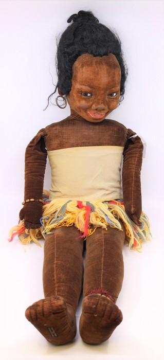 Norah Wellings: A large Norah Wellings, Polynesian doll, with wool dress, general wear to body,