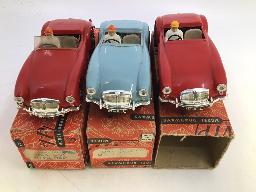 VIP Model Roadways: A collection of three boxed VIP Model Roadways MGA vehicles, comprising two in