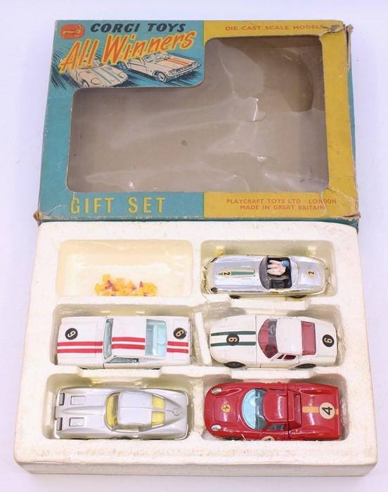 Corgi: A boxed Corgi Toys, Gift Set 46, All Winners, comprising: Ford Mustang Fastback 2+2, white