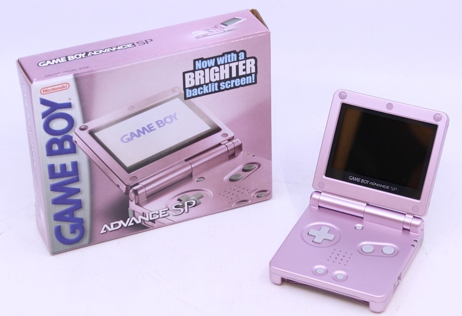Game Boy: A boxed Nintendo Game Boy Advance SP AGS-101, Pearl Pink, US Version, unused, with - Image 2 of 3