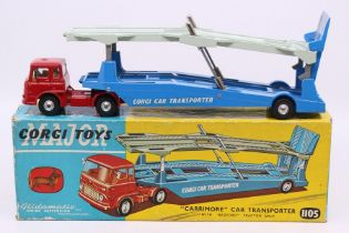 Corgi: A boxed Corgi Toys, 'Carrimore' Car Transporter with Bedford Tractor Unit, 1105, red cab with