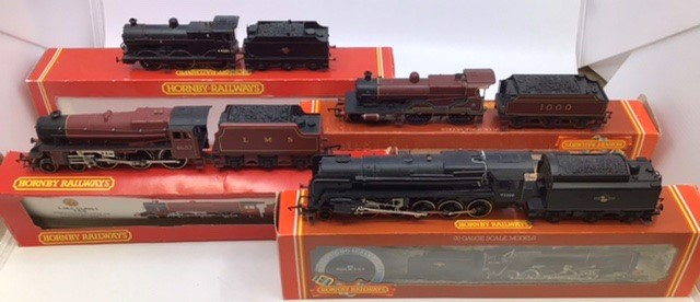 Hornby: A collection of four Hornby locomotives to include: R.2066 BR Fowler; R.355 MR Compound; R.