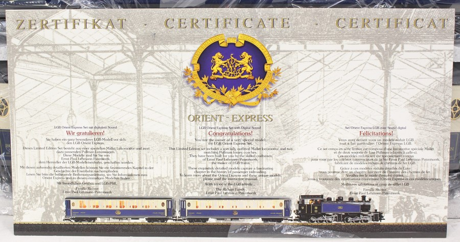 LGB: A boxed, Limited Edition, LGB Gauge 1, Orient Express Set, 70685, with certiticate and - Image 3 of 3