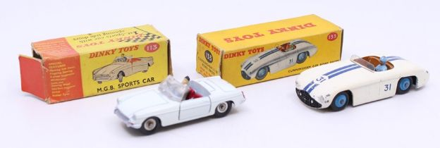 Dinky: A boxed Dinky Toys, Cunningham C-5R Road Racer, 133, white body with double blue stripe, #31,