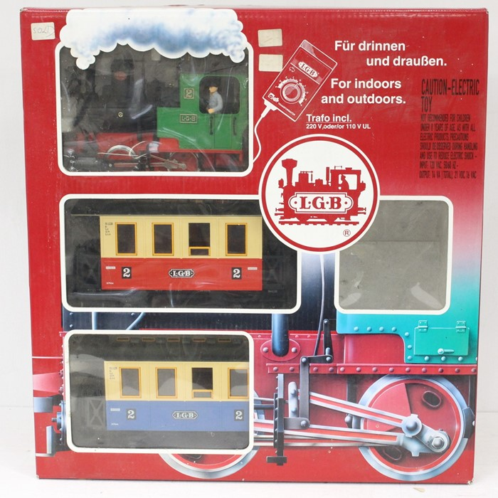 LGB: A boxed LGB Train Set, 70301, comprising 0-4-0 locomotive, and two coaches, no track,