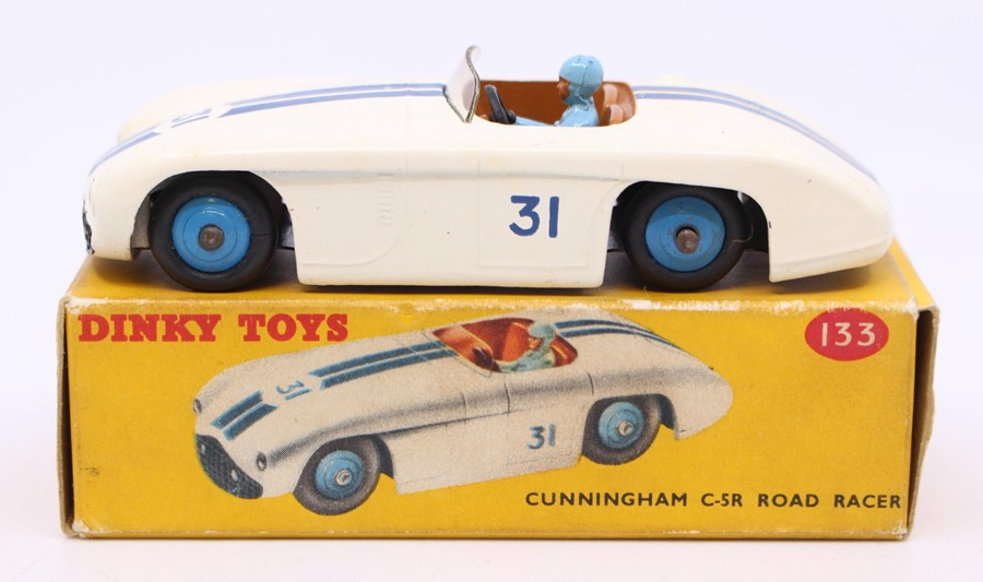 Dinky: A boxed Dinky Toys, Cunningham C-5R Road Racer, 133, white body with blue stripes, #31,