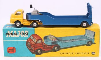"""Corgi: A boxed Corgi Major Toys, """"Carrimore"""" Low-Loader, 1100, yellow cab with blue trailer and"""