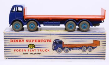 Dinky: A boxed Dinky Supertoys, Foden Flat Truck with Tailboard, 903, blue cab with orange