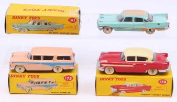 Dinky: A boxed Dinky Toys, Nash Rambler, 173, salmon pink with blue flash, correct colour spot on