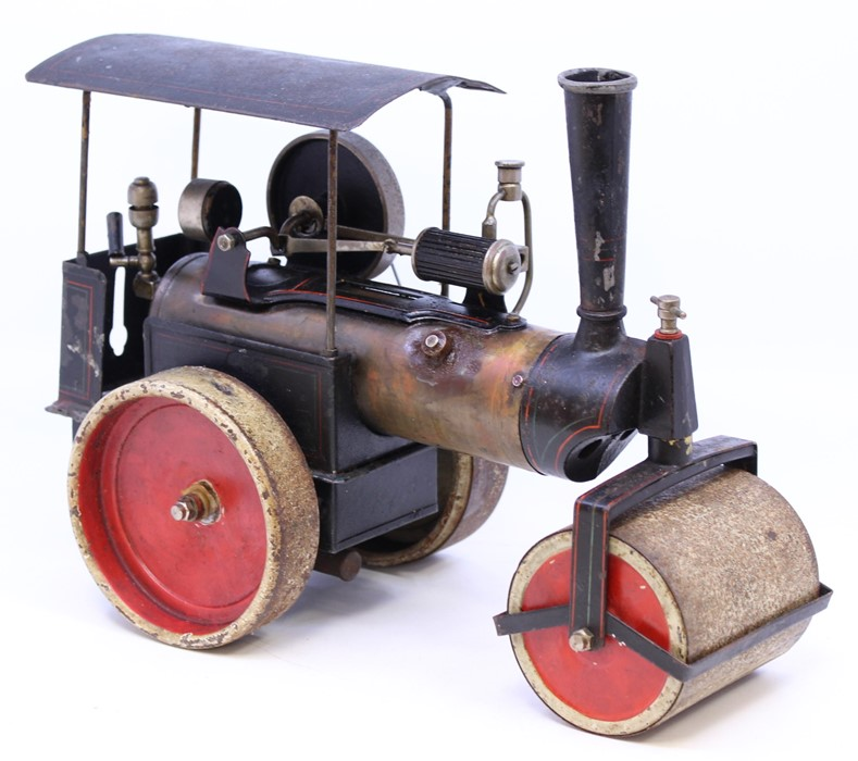 """Live Steam: An early 20th century, live steam, D.C., Germany, steam roller, flywheel approx. 2.5"""", - Image 3 of 4"""