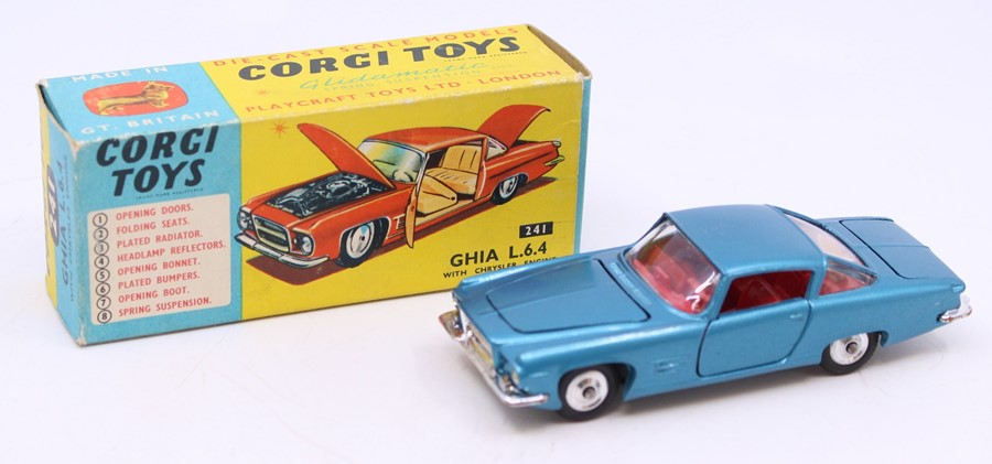 Corgi: A boxed Corgi Toys, Ghia L6.4 with Chrysler Engine, 241, vehicle appears good but back
