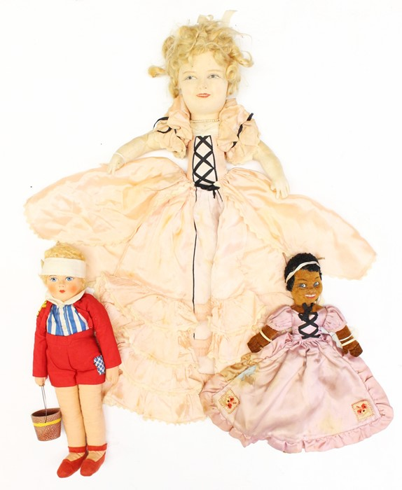 """Alluin: A cloth doll, possibly Alluin, in the style of Shirley Temple, approx. 22""""; together with"""