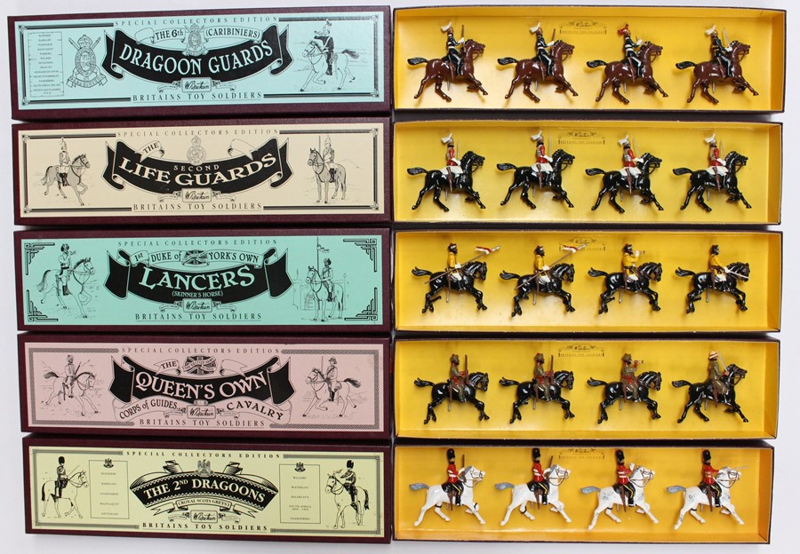 Britains: A collection of five boxed Britains sets to comprise: The 6th Caribiniers Dragoon
