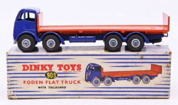 Dinky: A boxed Dinky Toys, Foden Flat Truck with Tailboard, 903, blue cab and chassis, orange