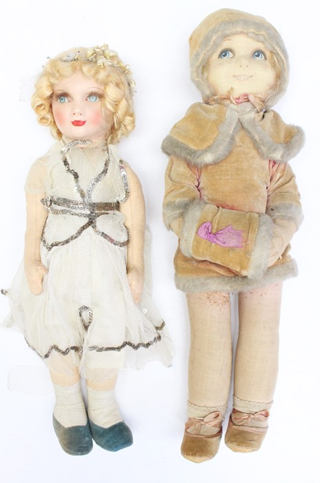 Deans: A pair of Deans Rag Book cloth dolls, one depicting a lady in white dress, height approx.