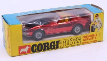 Corgi: A boxed Corgi Toys, Chevrolet Corvette Stingray Coupe, Metallic Red, 300, original window