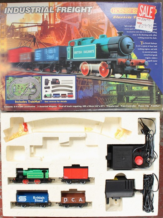 Model Railway: A boxed Hornby Railways, Industrial Freight Set, R1005, missing track, but
