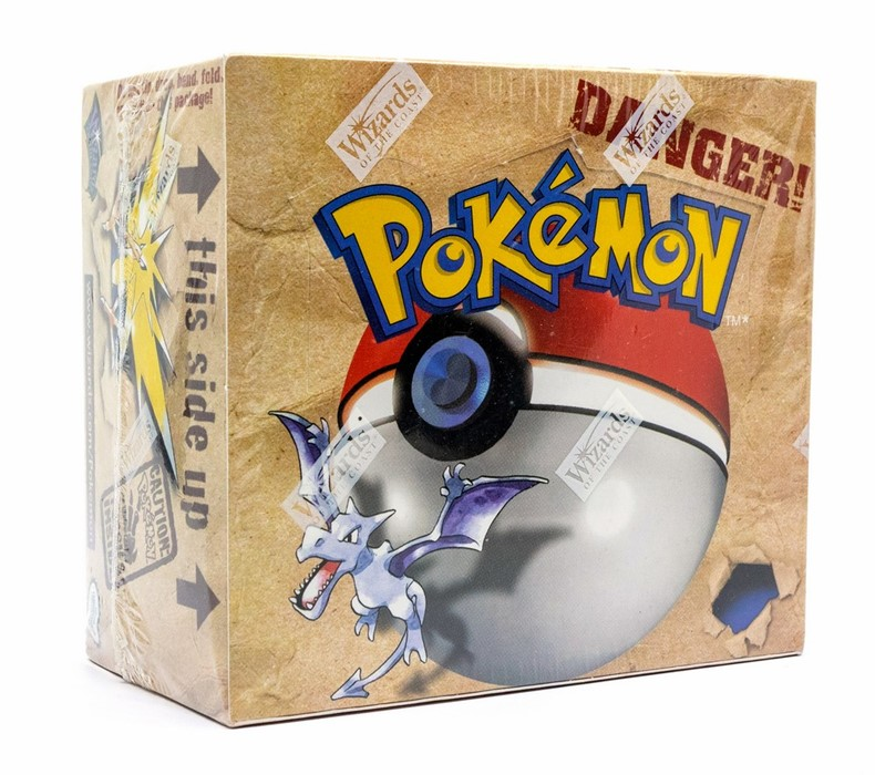 Pokemon: A sealed Pokemon Fossil Set Unlimited Booster Box, comprising 36 unopened packs,