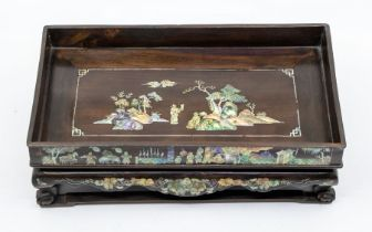 AChinese mother-of-pearl inlaid huanghuali wood opium tray,carved in the form of a miniature day