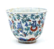 A Chinesedoucai'lotus andlanca' cup,the gently rounded sides rising from a short foot to a