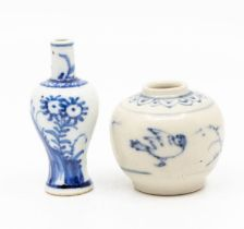 A small Chineseblue and white jarlet,the ovoid body painted with birds and mounds of grasses, 4.