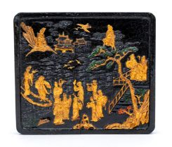 A large Chinese square black, gilt and coloured ink cake,the upper surface moulded with Shoulao and