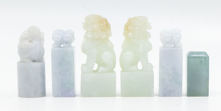 Six jade seals,comprising a pair of pale lavender and green jadeite seals, each carved with a - Image 2 of 2