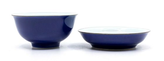 A Chineseblue glazed bowl and a blue glazed dish, Jingwei Tang Zhi hall marks in underglaze blue