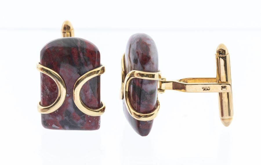 A pair ofshousanchicken bloodstone stone tablet formcufflinks,set in 18k yellow gold, approx