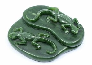 A Chinese green jade pounamu carving of two geckos, by Scott McFarlane dated Queenstown 2001,carved