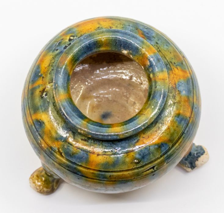 A Chinese small and raresancai-glazed tripod censer,the rounded sides rising from three short - Image 2 of 3