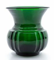 A Chinese Beijing green glass jar,the globular fluted body rising from a short foot to a waisted