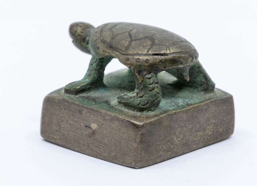 A bronze seal,cast with a tortoise standing, the seal face inscribed song mei (top of the pine - Image 2 of 4