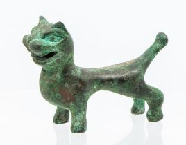 A Chinese Western Han or Han style gold and silver inlaid bronze tally,cast in the form of a cat,