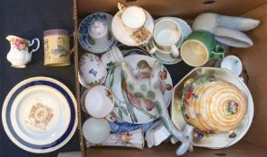 """Assorted pottery to include Royal Winton """"beehive"""" biscuit barrel two Goebel bird plates and other"""