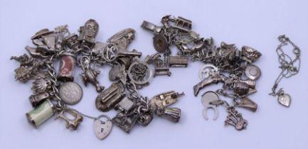 Two silver charm bracelets