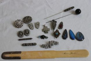 Ivory book mark together with a collection of costume jewellery