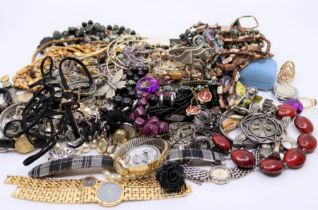 A collection of costume jewellery to include watches (qty)