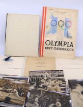 1948 Olympic memorabilia including the balance sheet from 1948 and various photographs of Fencing