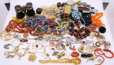 A large collection of costume jewellery including yellow metal items